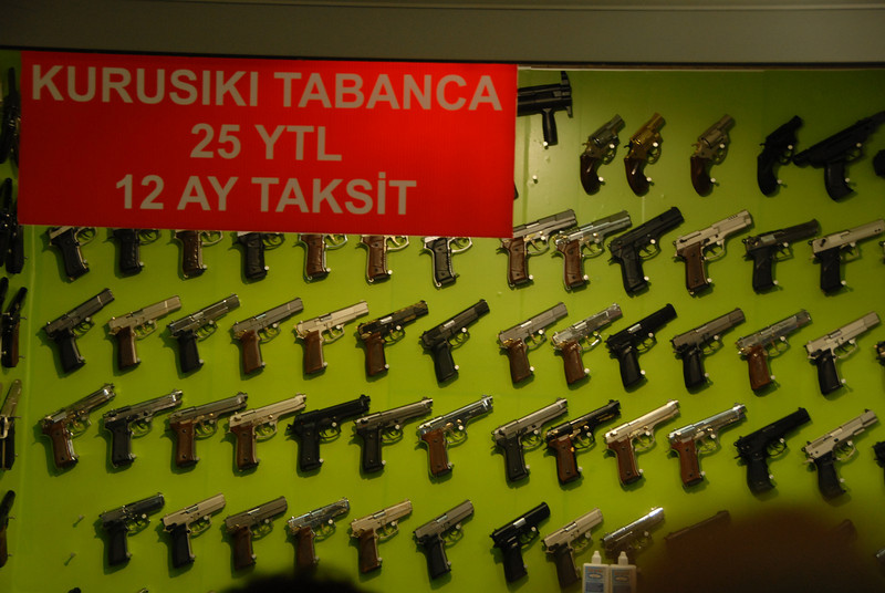 Gun shop underground in Galata district, Istanbul.