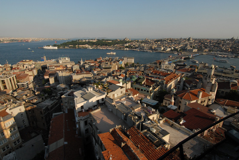 The Golden Horn meets the Bosphorus Strait, Istanbul, Turkey.