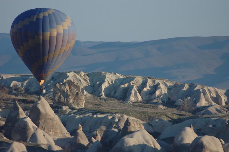 Hot air balloon ride at dawn, Cappadocia, Turkey.