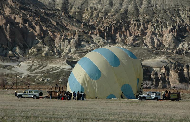 End of hot air balloon ride, Cappadocia, Turkey.