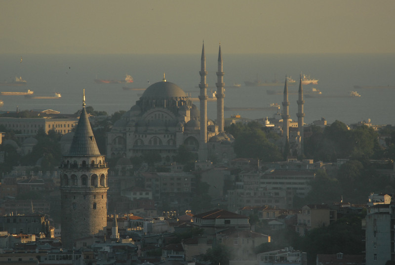 Istanbul, Turkey at dusk. Galata Tower, foreground, and Sea of Marmara.