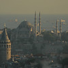 Istanbul, Turkey at dusk. Galata Tower, foreground, and Sea of Marmara.