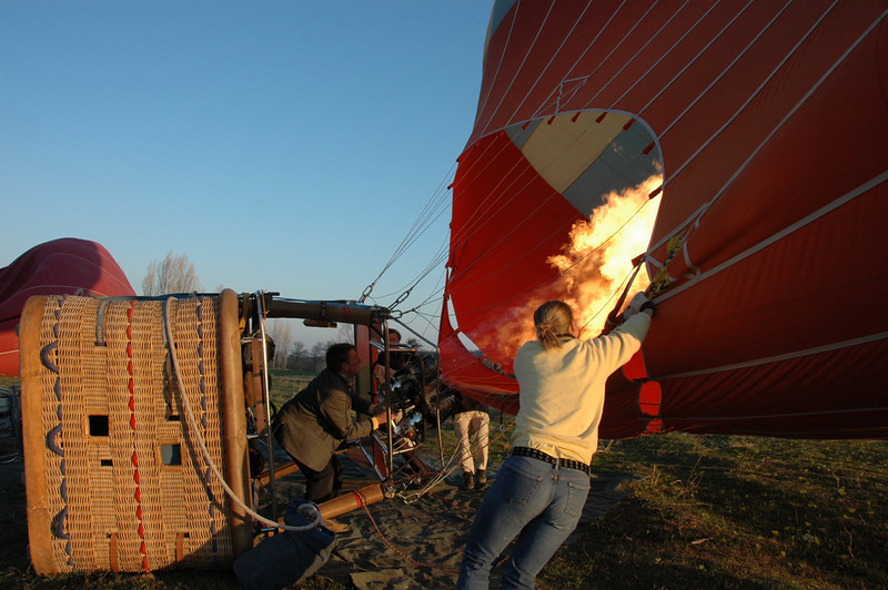 Filling a hot air balloon, Cappadocia, Turkey.