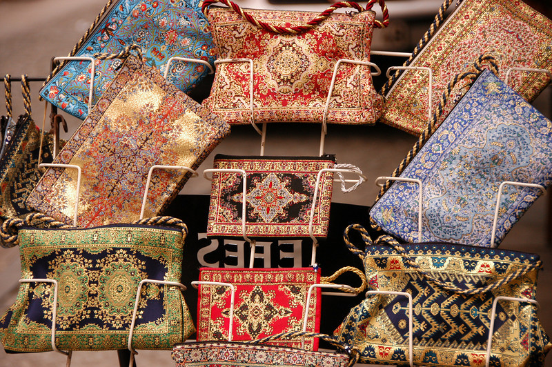 Embroidered pocketbooks for sale, historic district of Istanbul, Turkey.
