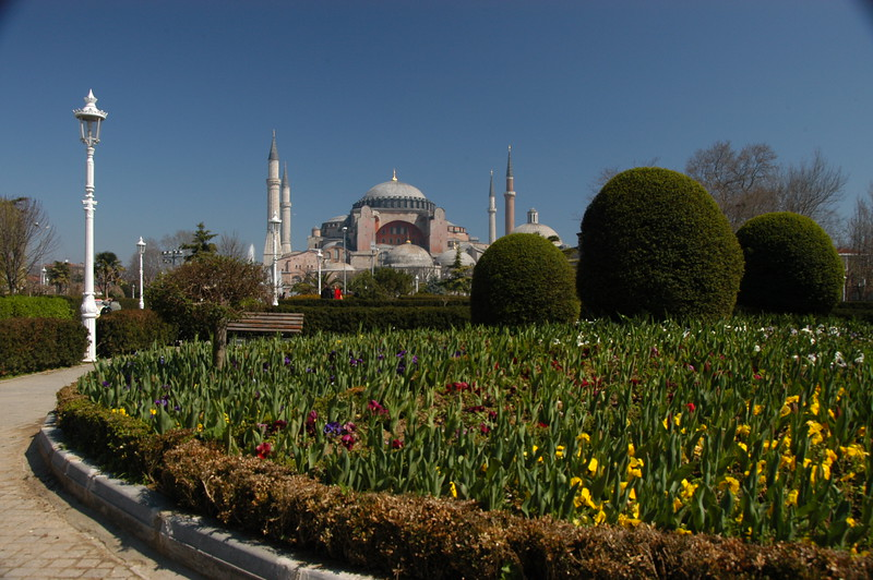The former Orthodox basilica and mosque, now museum, Hagia Sophia, constructed between 532 and 537 in Istanbul, then Byzantium.