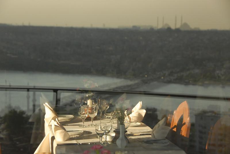 Restaurant reflection in glass, Istanbul, Turkey.