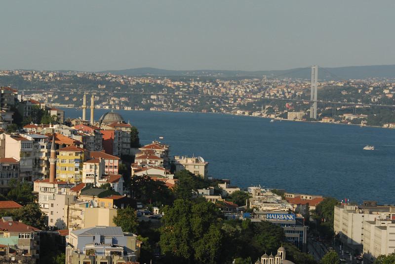 Bosphorus Strait and Bosphorus bridge, Istanbul, Turkey.