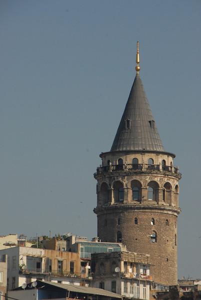Galata Tower, close crop, Istanbul, Turkey.