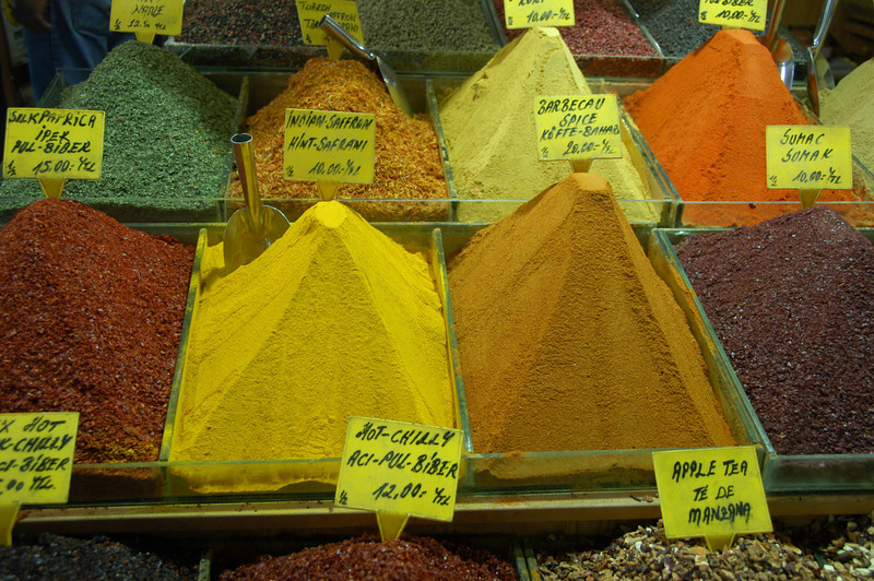 Detail of spices in Grand Bazaar, Istanbul, Turkey.