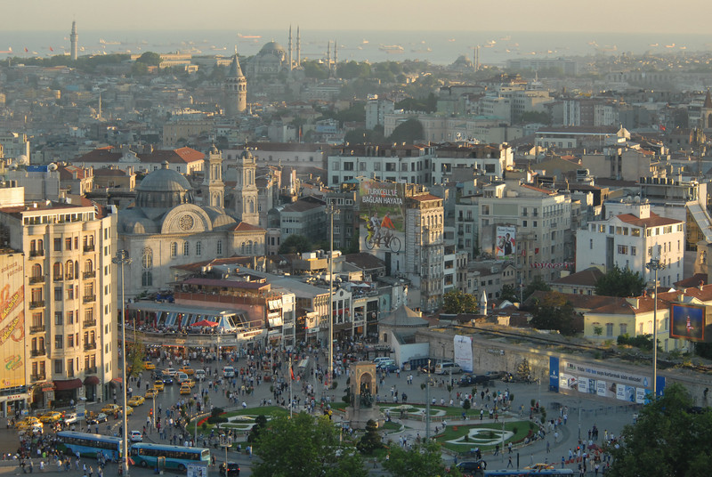The central Taksim Meydani, or square, with the Sea of Marmara in the distance, just beyond the mouth of the Bosphorus Strait.