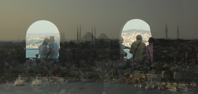 Reflection at Galata Tower, Istanbul, Turkey.