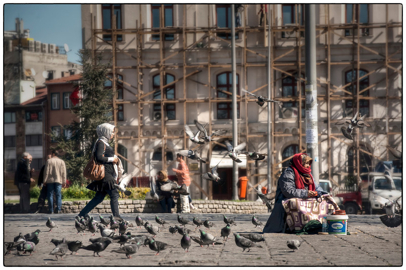 Feed the pigeons, Istanbul, Turkey.