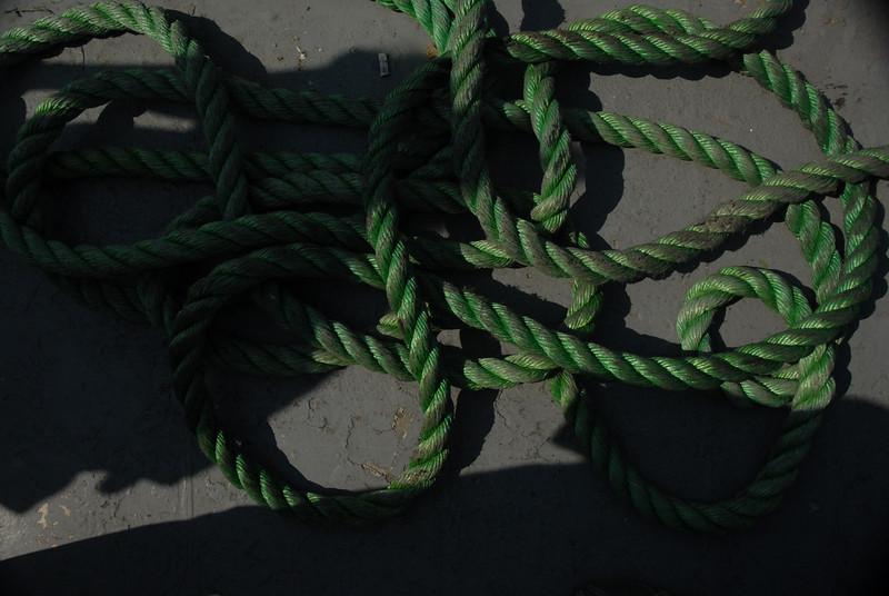 Rope on the dock at Buyukada, Princes Islands, Turkey.