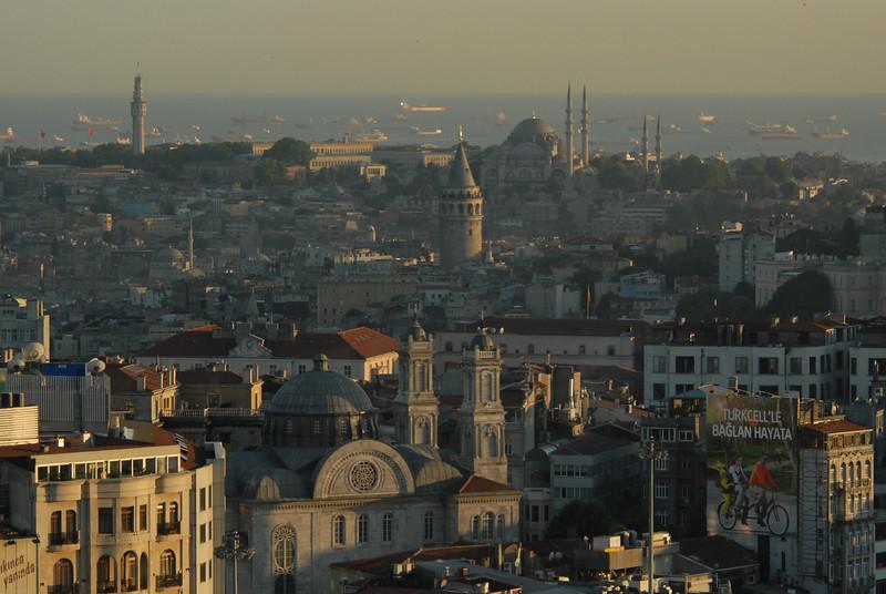 Istanbul, Turkey and ships on the Sea of Marmara.