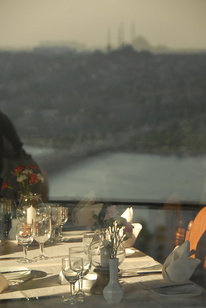 Restaurant with a view, Istanbul, Turkey.