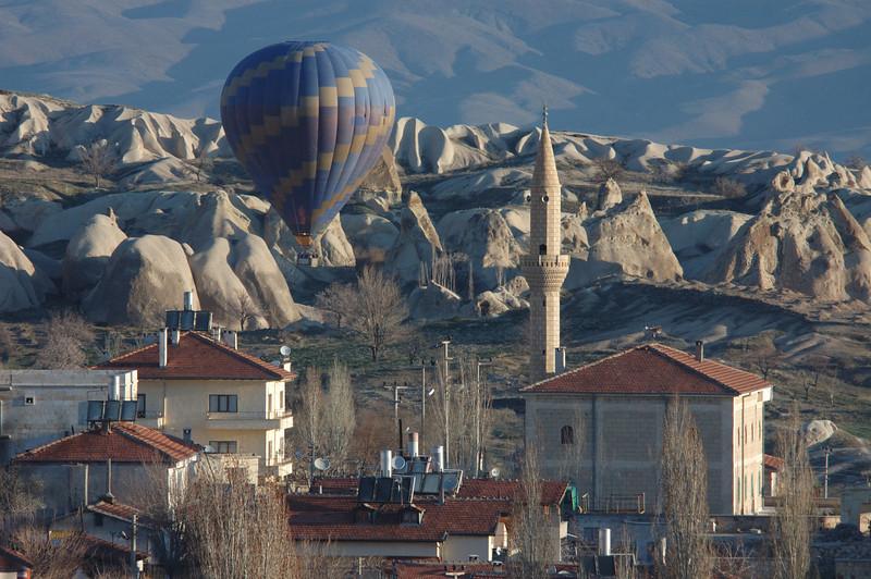 Balloon and mosque, Goreme, Turkey.