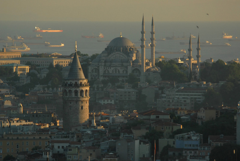 Galata Tower, foreground, Istanbul, Turkey.