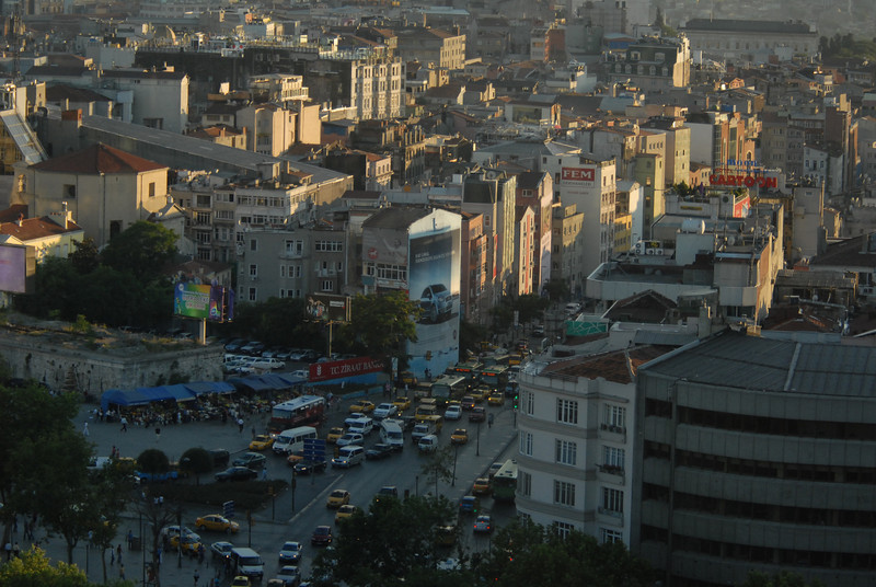 Detail of traffic, central Istanbul, Turkey.