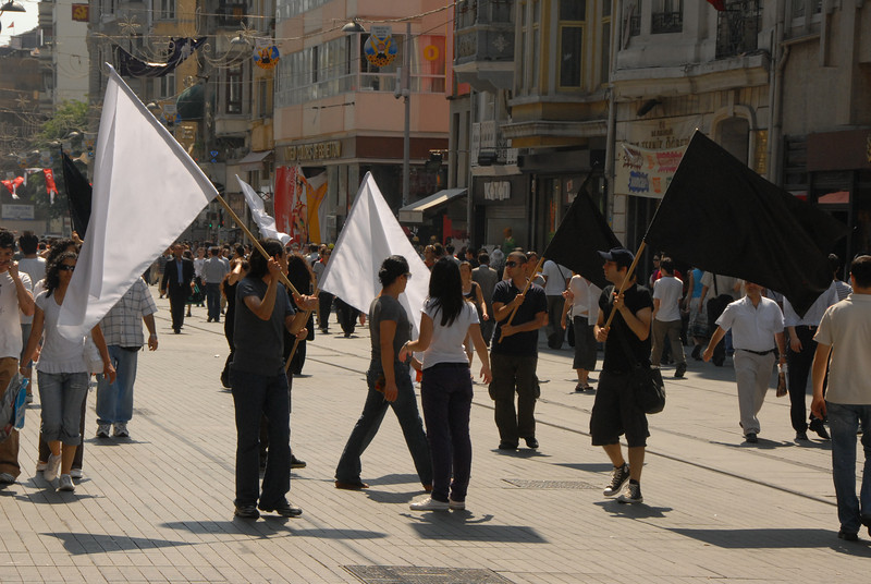 Demonstration, Istiklal Caddesi (Independence Avenue), the main predominantly pedestrian shopping street, Istanbul, Turkey.