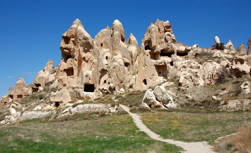 Cave dwellings in Cappadocia, near the town of Goreme, Turkey. Kind of like the Flintstones, eh?