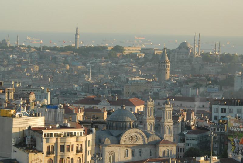 View across Begolyu and historic Istanbul to Sea of Marmara, Turkey