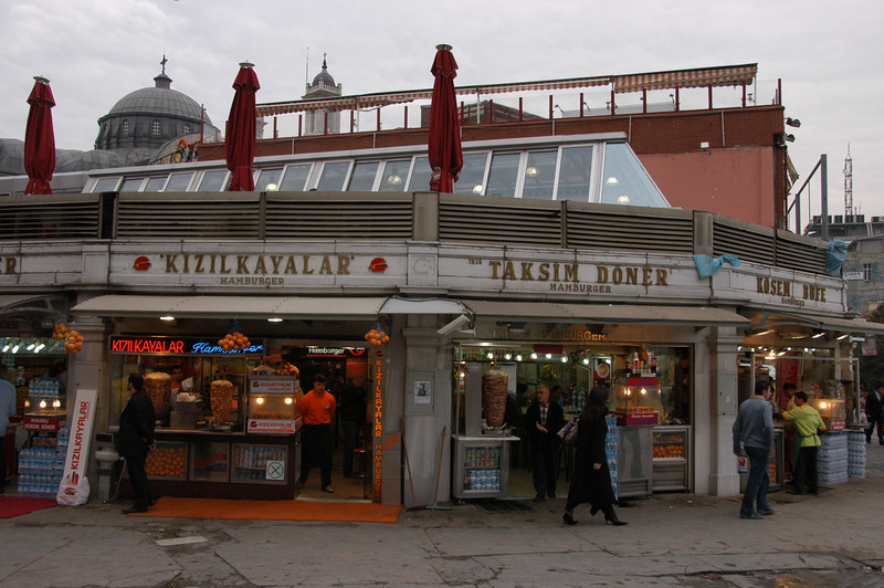 Storefronts on Taksim Square, Istanbul, Turkey.