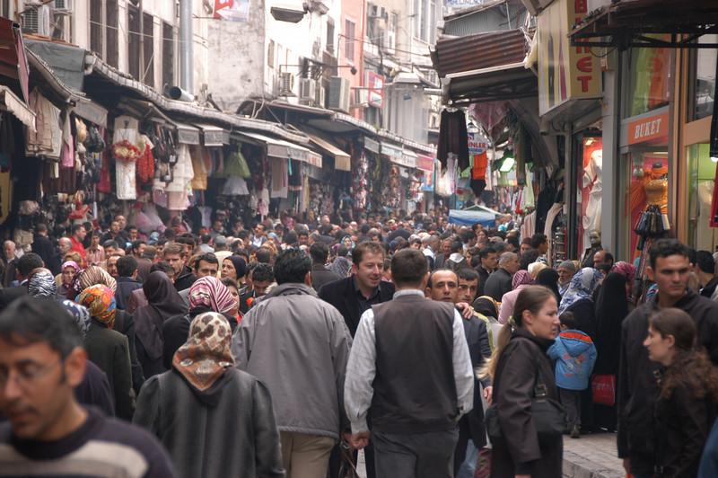 Pedestrian shopping street, historic Istanbul, Turkey.