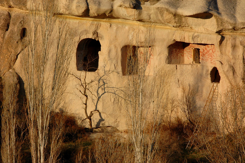 Cave dwellings with entrance ladder, Cappadocia.