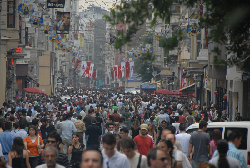 Istiklal Caddesi (Independence Avenue), the main predominantly pedestrian shopping street, Istanbul, Turkey.