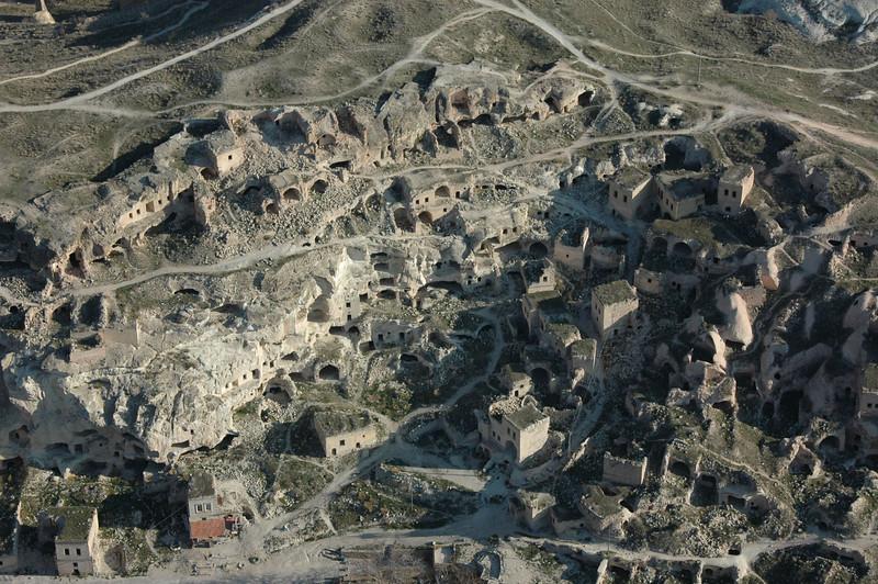 Aerial view of cave dwellings, Cappadocia, Turkey.