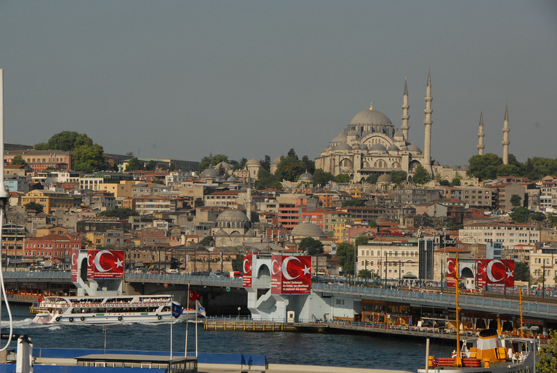 The Galata bridge and Sultanahmet, Istanbul, Turkey.
