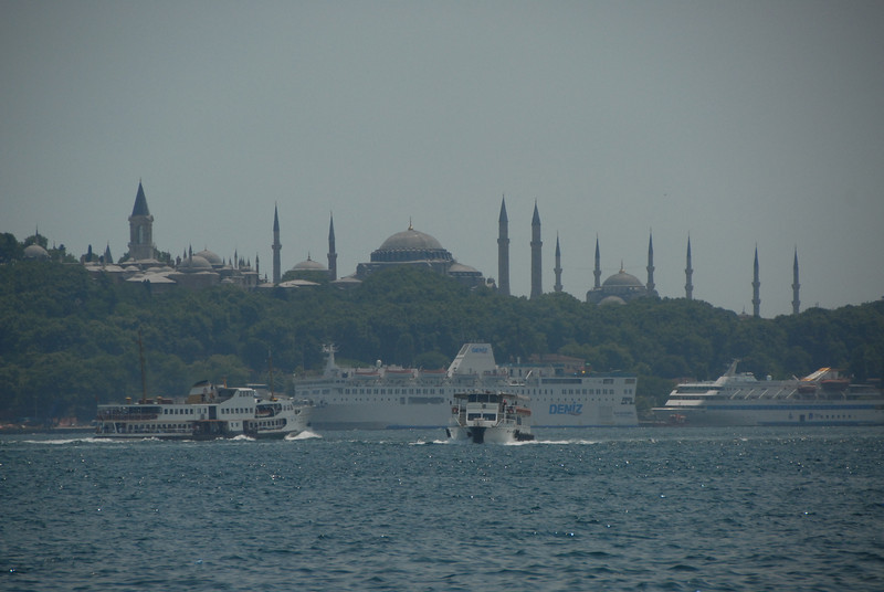 The Topkapi Palace, left, at the entrance to the Golden Horn, Istanbul, Turkey.