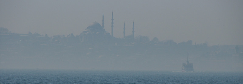 Mist over Golden Horn, close crop, Istanbul, Turkey.