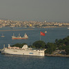 The tip of historic Istanbul, foreground, the Bosphorus Strait, center, and Asian Istanbul, Turkey beyond.