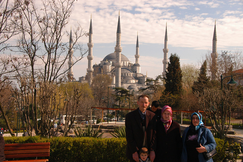 A family portrait at the Blue Mosque, Istanbul, Turkey.