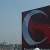 Billboard of Turkish flag and fisherman, Istanbul, Turkey.