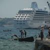 Swimming, fishing and cruising on the Bosphorus Strait, Istanbul, Turkey.
