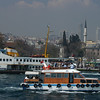 The Bosphorus Strait and Istanbul business district, Turkey.