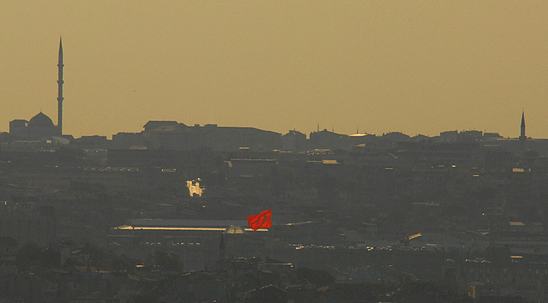 Late afternoon detail with flag, Istanbul, Turkey.