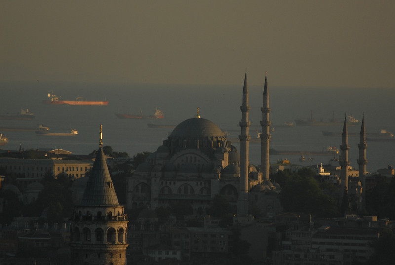 Dusk view across Istanbul out to the Sea of Marmara, with the Galata Tower in foreground.