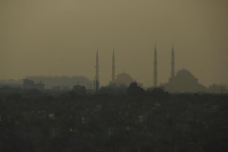 Reflection in glass, Istanbul, Turkey.