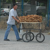 A pretzel boy and his cart, Istanbul, Turkey.