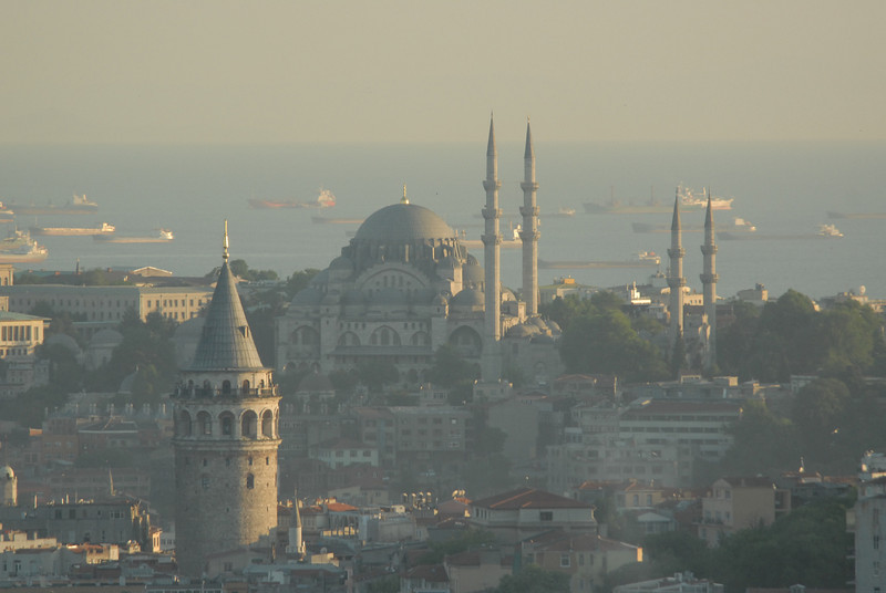The Galata Tower, foreground, and historic Istanbul, Turkey, across to the Sea of Marmara.