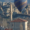Balloon and mosque at dawn, Goreme, Cappadocia, Turkey.