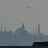 Historic Istanbul, Turkey, skyline at dusk, with flag.
