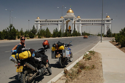 Very subtle and understated entrance to Ashgabat... Note gold statue of Turkmenbashi that rotates to eternally face the sun!