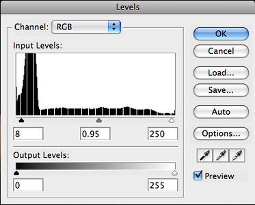 Create a Levels adjustment layer and modify levels for slight contrast.