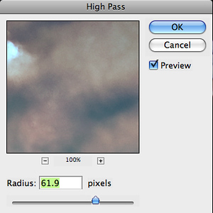 On the Soft Light layer, run the High Pass filter (Filter > Other > High Pass). Use a fairly high setting, but adjust to taste. Reduce the layer opacity to 75%.