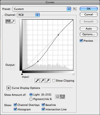 Create a second Curves adjustment layer to darken the shadows.