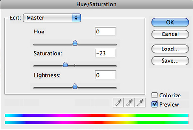 Create a Hue/Saturation adjustment layer and slightly desaturate the image to taste.